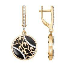 Златни обеци с камъни