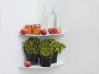 Ъглови рафтове за кухнята: видове и характеристики на употреба