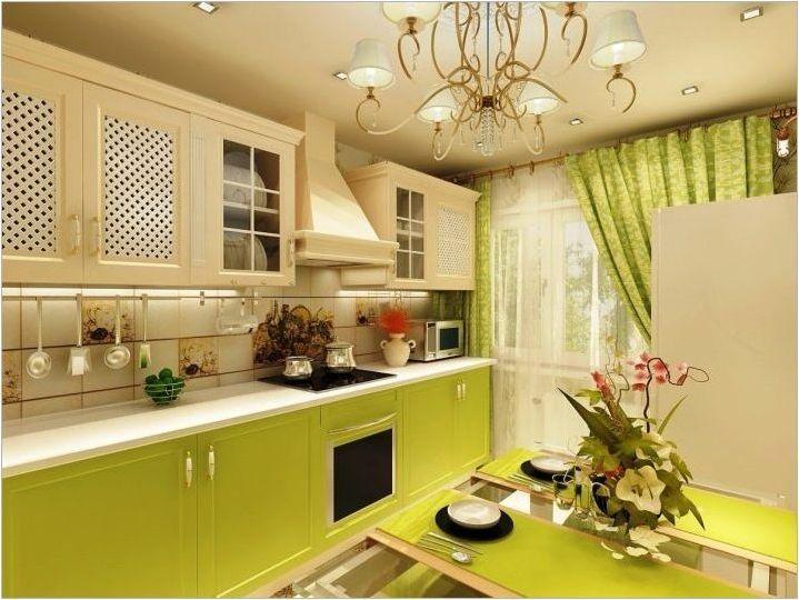 Кухни със светлина Яздене и тъмно дъно: Комбинации и примери