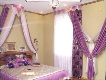 Лилайски завеси в спалнята: разновидности, избор и закрепване