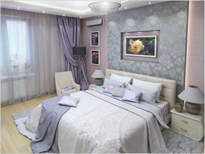Лилави завеси в спалнята: разнообразието от нюанси и правилата на подбора