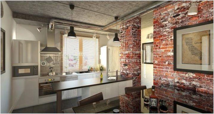 Loft кухня дневна интериорен дизайн