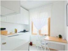 Пердета за бяла кухня: цветове, стил, избор и закрепване