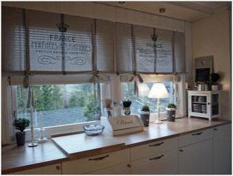 Римски завеси в кухненски интериор: разновидности, характеристики на избор и привързаност