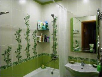 Зелена плочка в интериора на банята