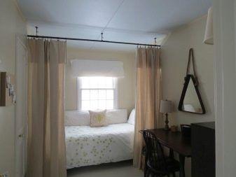 Зониране на спалня Завеси: Характеристики и интересни опции