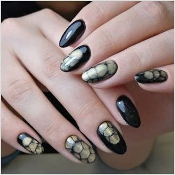 Дизайн на ноктите със змия ефект на кожата - удебелен, но красив!