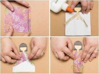 Сгъване на оригами под формата на хартиени кукли