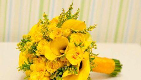 Жълт булчински букет: Избор на цветове и тяхната комбинация